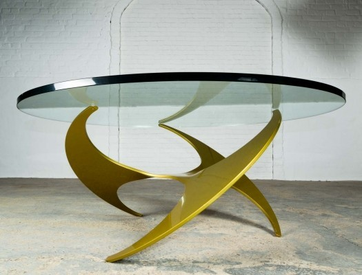 Rare Mid-Century Gold Propeller Cocktail Table by Knut Hesterberg
