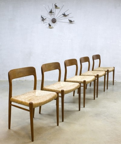 5 x Model nr 75 dinner chair by Niels O. Møller for JL Møller Møbelfabrik, 1960s