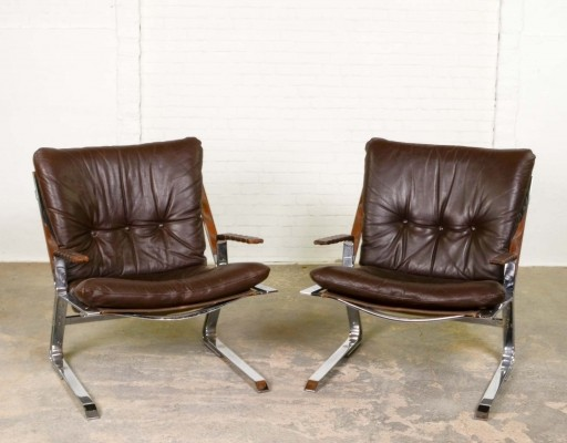 Mid-Century 'Pirate' Easy Chairs by Elsa & Nordahl Solheim for Rykken