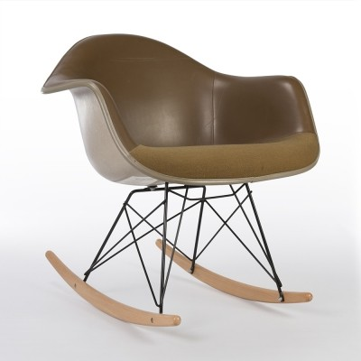 Original Tan 'Two-Tone' Alexander Girard Upholstered Eames RAR Contract Arm Shell Chair