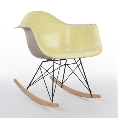Original Eames Herman Miller Yellow with Grey Back RAR Rocking Arm Chair