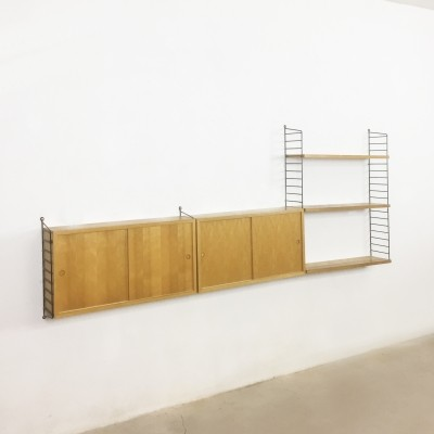 String ash wood wall unit by Nisse Strinning for String Design AB, 1960s
