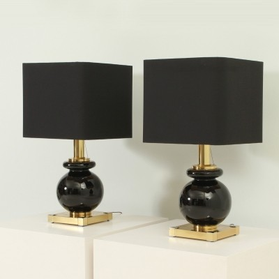 Pair of Lumica Table Lamps in Brass & Glass