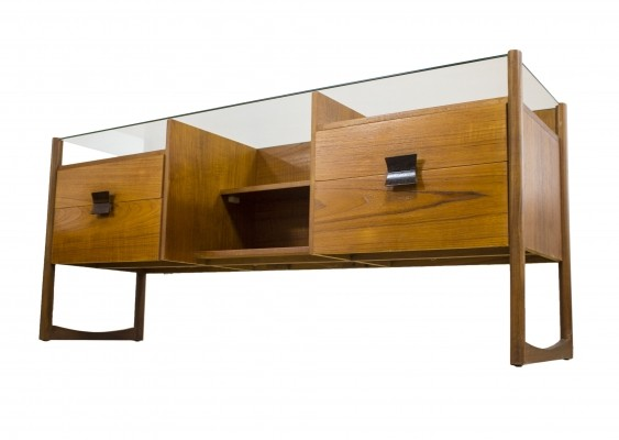 Danish Teak Glass Topped Desk Dressing Table, 1950s