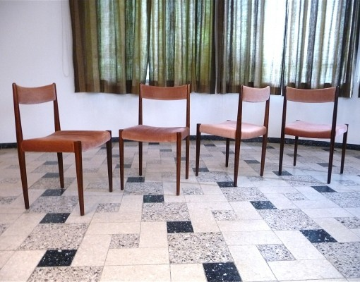Set of 4 Wood & Velvet Dining Chairs by Lübke, 1960s