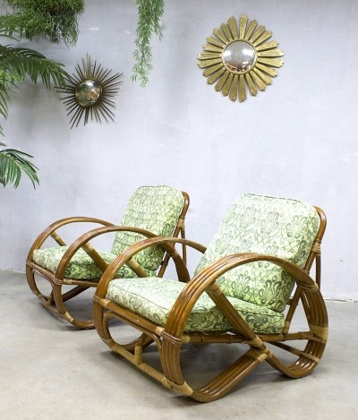 3 x Bamboo lounge chair by Rohé Noordwolde, 1950s