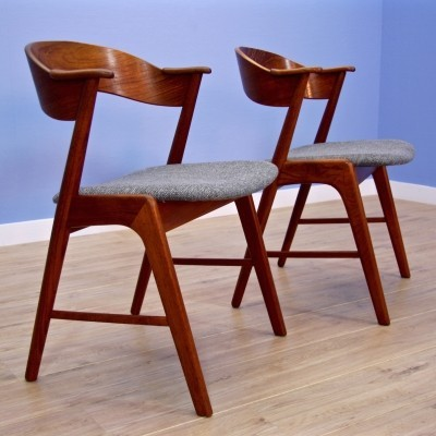 Pair of dinner chairs by Kai Kristiansen for Korup Stolefabrik, 1950s