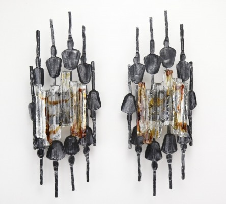 Pair of Large wrought iron brutalist wall lamps, 1970s