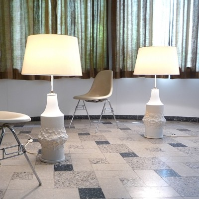Pair of Bisque Porcelain Series floor lamps by Kaiser Leuchten, 1960s