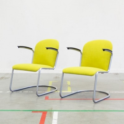 Pair of 413 RL lounge chairs by W. Gispen for Gispen, 1950s