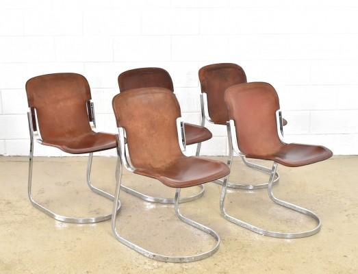 Set of 5 cognac saddle leather chairs by Willy Rizzo for Cidue, 1970s