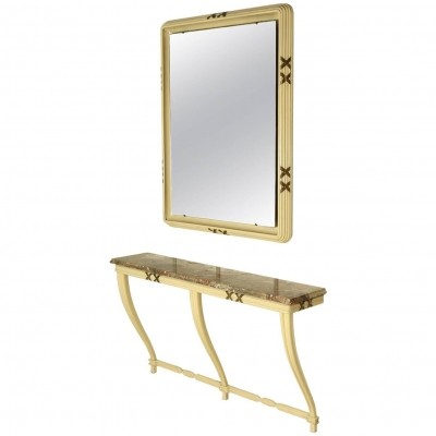 Osvaldo Borsani Wall console with mirror from an important private client, 1940s