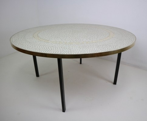 Berthold Müller Oerlinghausen Mosaic Gold-Plated Coffee Table, 1960s