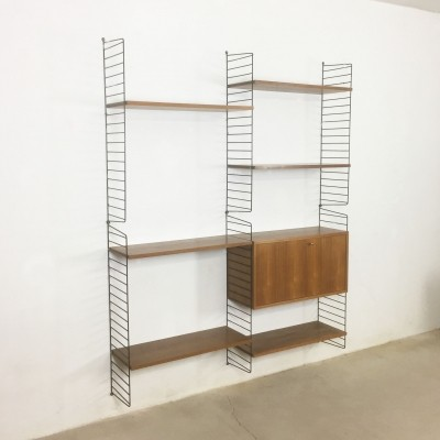 2 x Walnut String wall unit by Nisse Strinning for String Design AB, 1960s