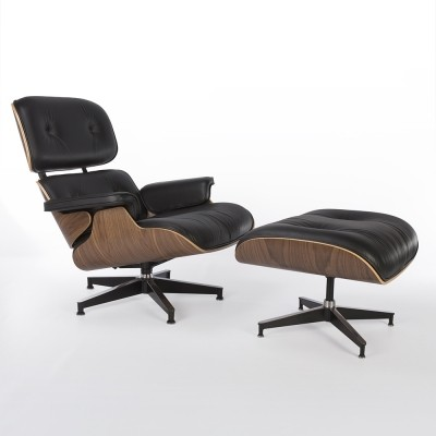 Original Herman Miller Black Leather Walnut Lounge Chair & Ottoman