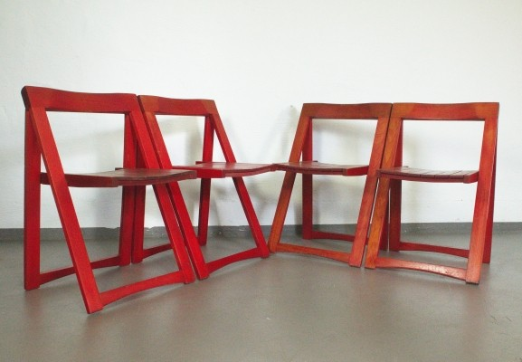 Red Folding Chairs by Aldo Jacober for Alberto Bazzani Italy, 1960s