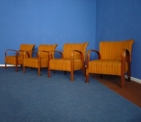 Set of 4 French Club Chairs from Hugues Steiner, 1948