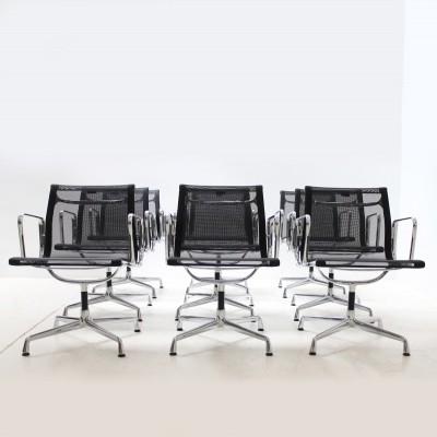 Set of Eight Aluminium EA 108 Net Weave Chairs, 1990s