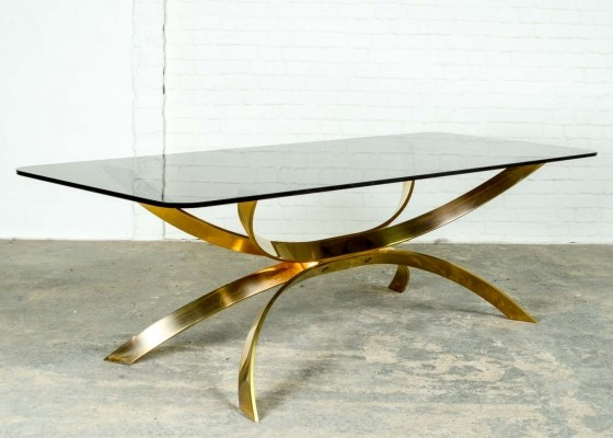Sculptured Mid-Century Italian Gold Coffee Table, 1970s