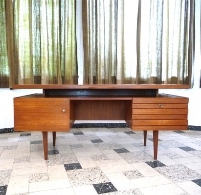 Free Standing Teak Executive Writing Desk by BUB Wertmöbel Germany, 1960s