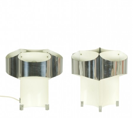 Pair of Italian 3-Light Space Age Chromed Table Lamps, 1960s