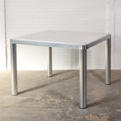 Marble & Aluminium Dining Table by Kho Liang Ie for Artifort, 1970s