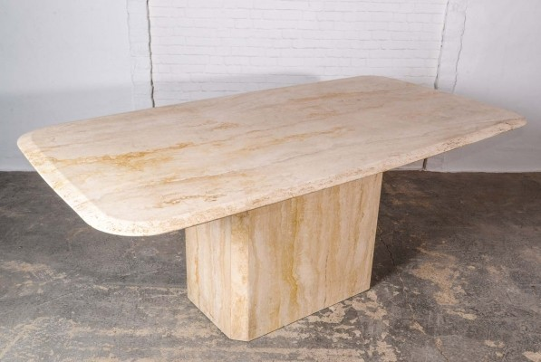Mid-Century High Quality Travertine Dining Table, 1970s