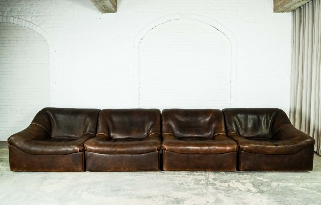 Mid-Century Buffalo Neck Leather Modular Sofaset DS46 for De Sede, 1970s
