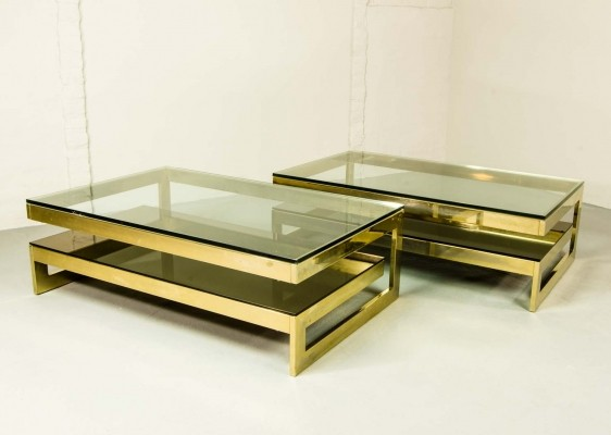 Architectural Mid-Century 23-Carat Gold- Plated G-Table Set by Belgo-Chrom, 1970s