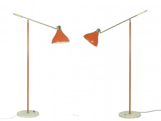 Pair of articulated floor lamps by Stilux Milano, early 1960s