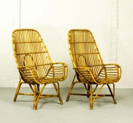 Pair of Rattan High Back Easy Armchairs, 1960s