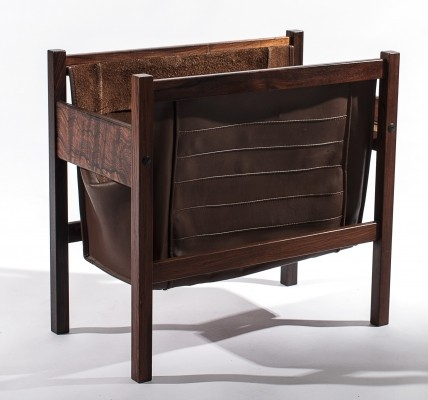 Rosewood & Leather Magazine Rack, 1950s