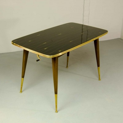 Brass with Black & Gold Painted Glass Game Table, 1950s