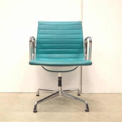 Rare Turqouise Leather Vitra EA108 Alu Chair by Charles & Ray Eames