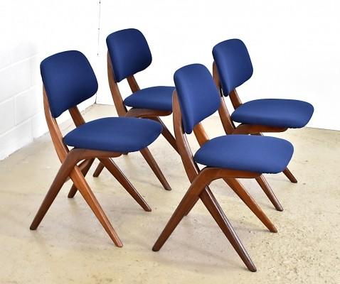 Set of 4 Scissor dinner chairs by Louis van Teeffelen for Wébé, 1950s