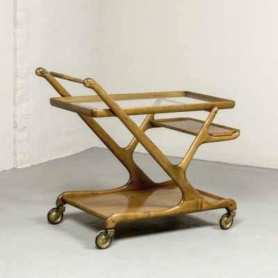 Walnut Bar Trolley by Cesare Lacca for Cassina, 1950s