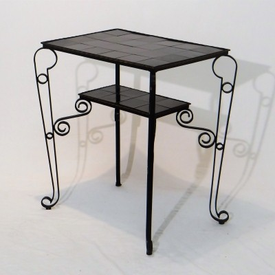 Iron side table with black tiles, 1950s