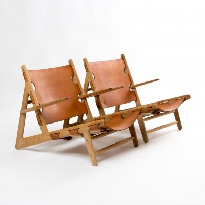 Pair of Hunting lounge chairs by Børge Mogensen for Fredericia, 1950s