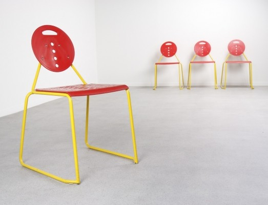Set of 4 dinner chairs by Carlo Bimbi for Segis Italy, 1980s