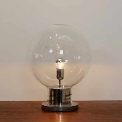 Iconic Raak Amsterdam XL Globe Chrome & Glass Table Lamp, 1960s