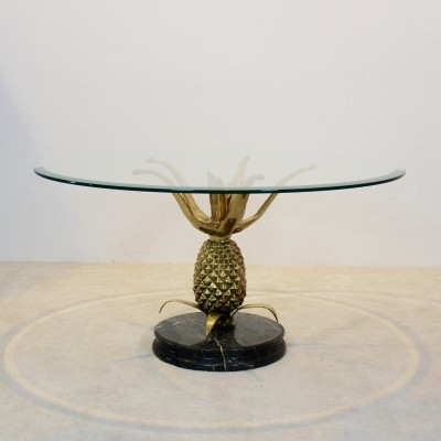 Sculptural Brass, Glass & Marble Pineapple Coffee Table, France 1970s