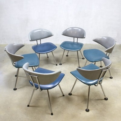 Set of 6 7211 Mickey dinner chairs by Martin de Wit for Gebroeders De Wit, 1950s