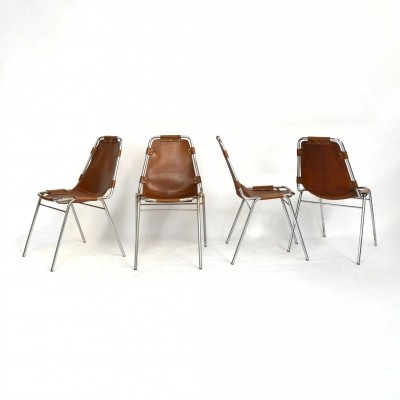 Set of 4 Les Arcs dinner chairs by Charlotte Perriand, 1970s