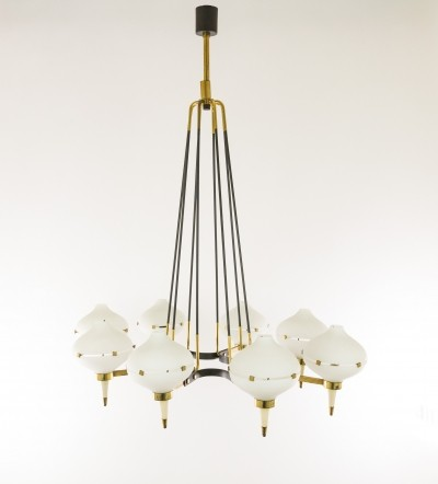 Chandelier by Stilnovo in metal, brass & glass, 1950s