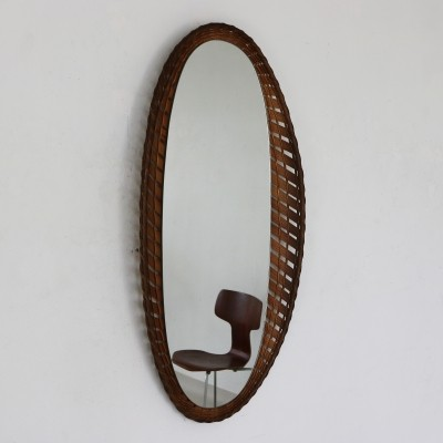 Rattan edged oval mirror, 1960s