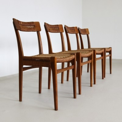 Scandinavian dinner chairs made of wood & rope, 1960s