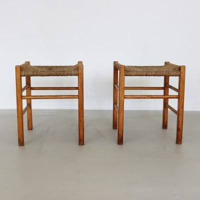 Pair of Rope seat stools, 1960s