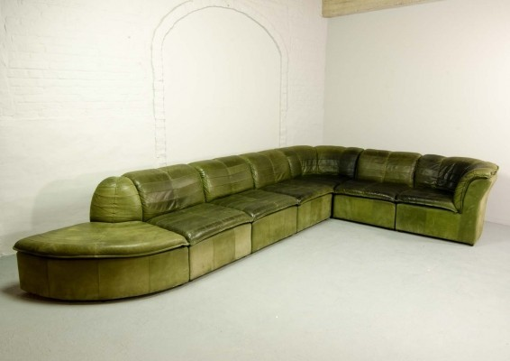 7 Elements Modular Patchwork Sofa by Laauser in Olive Green Nubuck Leather