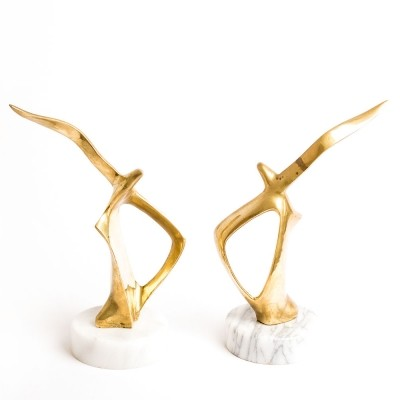 Set of two vintage bookends brass birds on marble base, 1960s