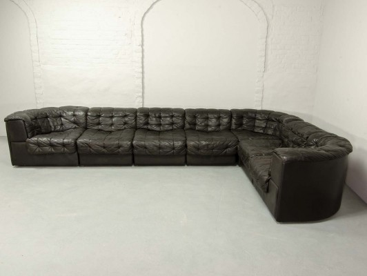 Mid-Century Patched Black Leather 7 Elements Modular Sofa DS11 by De Sede, 1970s